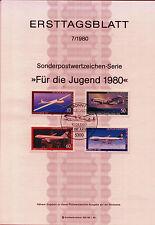 """BRD MiNr 1040-1043 ETB 7-80 """"Jugend 1980"""": Flugzeuge"""