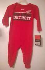 Detroit Red Wings Reebok Thermal Infant Baby Sleeper Pajamas Coverall 3/6 Month