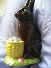 """Vintage Easter Bunny Brown Rabbit Eggs Basket Ceramic 7"""" Duncan Enterprises 1979"""