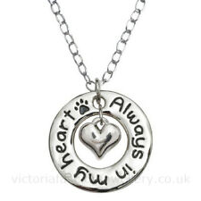 """""""Always in my heart"""" PENDANT NECKLACE C, Sterling Silver Plate, Dog Cat Pet Paw"""