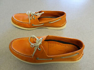 Sperry Top-Sider Orange Leather Boat Shoes Men's 9