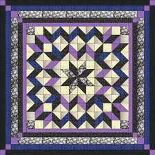 Quilt Kit/Galaxy Star/Lilac/Blue/Black /Pre-cut Fabrics Ready2Sew/Qn/Exp Ship