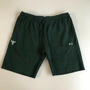 Under Armour Mens 2XL Project Rock Cotton Fleece Shorts Pants Green Blue 1380