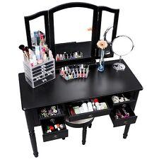 Wood Vanity Table Mirrored Set Stool Drawers Makeup Dressing Jewelry Organizer