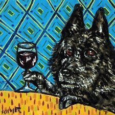 Schipperke At The Wine Bar Cafe dog art tile coaster gift