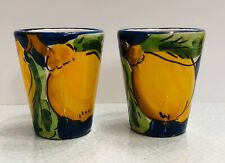 Vietri Pottery- 2 Limoncello Glass - Shot Glass .Made/Painted by hand in Italy