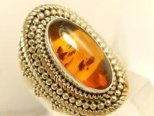 SUARTI Hone Amber Sterling RING Sz 8 Beaded Design WIDE HEAVY Ornate