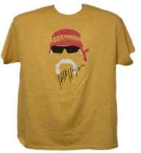 Hulk Hogan Autographed/Signed Hulkmania Face XL Yellow T-Shirt JSA 11642