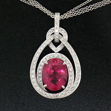 FINE 18K White Gold 6.03ctw GIA Rubellite Tourmaline & Diamond Pendant Necklace