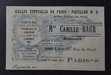 Carte de visite CAMILLE BAUR vente de fruit raisin Hyères PARIS old visit card