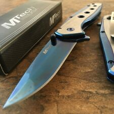 """8"""" BLUE TITANIUM Spring Assisted Open Blade FOLDING POCKET KNIFE Fade Switch"""