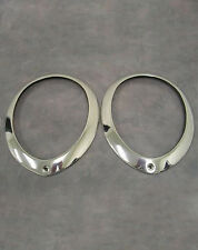 1937 1938 1939 Ford Car Standard Stainless Steel Headlight Ring Rim PAIR SS