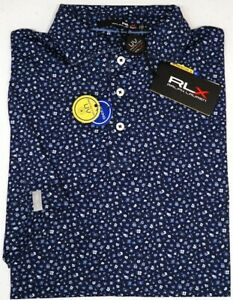 Polo Ralph Lauren RLX Short Sleeve Blue Floral Shirt UPF 50 Wicking NWT $98 NEW