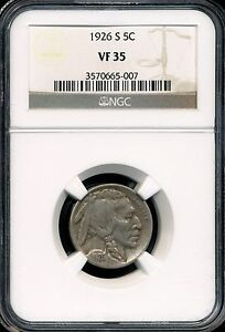 1926-S Buffalo Nickel NGC VF35