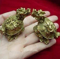 "2"" China's rare bronze statue carving delicate a pair of old dragon turtle"