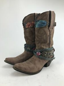 Crush by Durango Womens Brown Faux Leather Accessorized Western Cowboy Boots