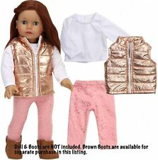 """Metallic Vest,T Shirt, Legging Or Boots 18"""" Doll Clothes Fits American Girl Doll"""