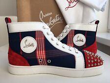 NEW CHRISTIAN LOUBOUTIN Lou Spikes Flat Suede Textile Louis Orlato Sneakers EU43