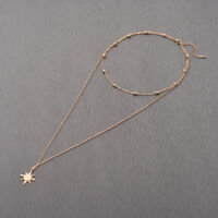 Compass Bead Choker Necklaces for Women Multi Layer Chocker Necklaces Pendants