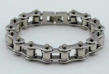 Womens Stainless Steel W Silver Rollers Motorcycle Chain Bracelet Silver/Silver