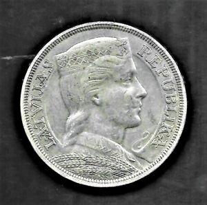 1931 LATVIA REPUBLIC 5 LATI SILVER COIN KM# 9