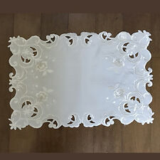 """Ivory Embroidered and Cutwork Traycloth - Placemat 12"""" x 18"""" (set of 12)"""