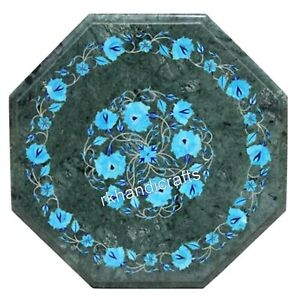 Turquoise Stone Inlaid Coffee Table Top Marble Corner table for Office 15 Inches