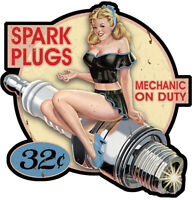 STICKER PINUP BOUGIE SPARK PLUGS RETRO AUTOCOLLANT VINTAGE AUTO MOTO PC015D
