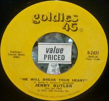 "*<* SALE! JERRY BUTLER's 1960 #7 HIT ""HE WILL BREAK YOUR HEART"" CLEAN M- 45/SLV!"