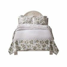New Simply Shabby Chic Twin Quilt Floral Bedspread - Blue roses Flowers NEW