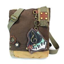 New Chala Patch Crossbody PIANO MUSIC Bag Canvas School Travel Dark Brown Gift