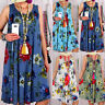 Boho Women Sleeveless Ladies Summer Holiday Long Maxi Kaftan Sun Dress Plus Size