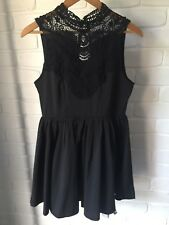 Black High Neck Lace Pure Hype Dress Size M Keyhole Open Back Full A Line Skirt