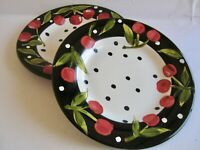 2 pcs Tabletops Unlimited Boulevard Dinner Plates Black White Dots Red Fruit