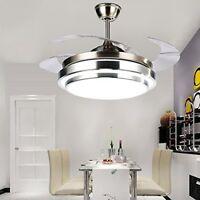 "42"" Modern Fan Chandelier Light Lamp LED Invisible Fan Ceiling Dining Room"