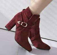 Women Buckle Strap Ankle Boots Ladies Pointy Toe Chunky Heel Casual Shoes Pumps