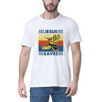 Jesus Saves Hockey Goal T-Shirt Vintage Men/'s Retro Cotton Tee Gift Short Sleeve