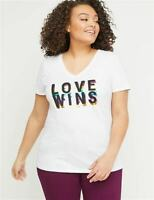 Lot 2 Plus Size Lane Bryant T-Shirts 22/24 Love Wins white solid red WEIGHT LOSS