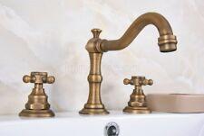 Antique Brass Widespread Bathroom Sink Faucet Basin 3 Holes Mixer Tap
