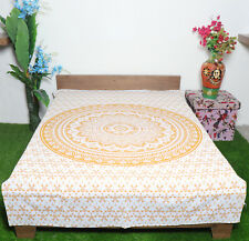 Hippie Twin Size Cotton Mandala Tapestry Beige Ombre Print Wallhanging Beach Mat