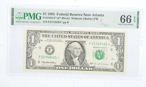 STAR NOTE - PMG Graded 66EPQ $1 1995 FR1922-F* FRN - Error Replacement *001