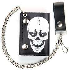 LARGE SKULL HEAD TRIFOLD MOTORCYCLE BIKER WALLET W CHAIN mens #548 LEATHER NEW