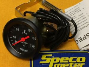 "52mm Mechanical water temperature gauge 40-120 C Speco 2"" black 533-23 6' tube"