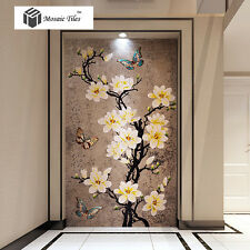 Peach Blossom Butterflies Early Spring Mural Mosaic for Background Wall Decor