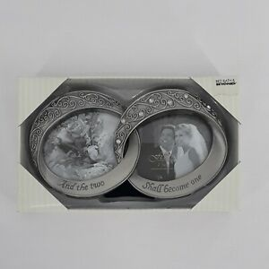 Fetco And The Two Shall Become One Wedding Double Rings Picture Frame Pewter
