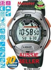 AUSTRALIAN SELLER CASIO W-753-3AV W753 W-753 FISHING TIDE GRAPH 12 MONTH WARANTY
