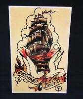 Homeward Bound Ship Navy Sailor Jerry Vintage style tattoo poster print pin up