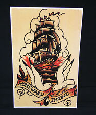 Homeward Bound Ship Navel Sailor Jerry Traditional style tattoo poster print