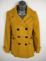 WOMENS WAREHOUSE YELLOW BUTTON UP DOUBLE BREASTED WOOL BLEND SMART PEA COAT UK 6