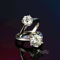 925 Sterling Silver SONA Diamond 1.0 Ct Single Classic Engagement Wedding Ring
